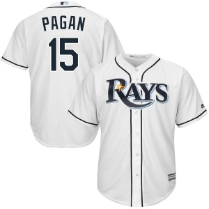 Men's Majestic Tampa Bay Rays Emilio Pagan White Cool Base Home Jersey - Replica