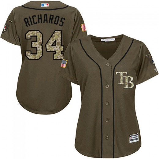 Women's Majestic Tampa Bay Rays Trevor Richards Green Salute to Service Jersey - Authentic
